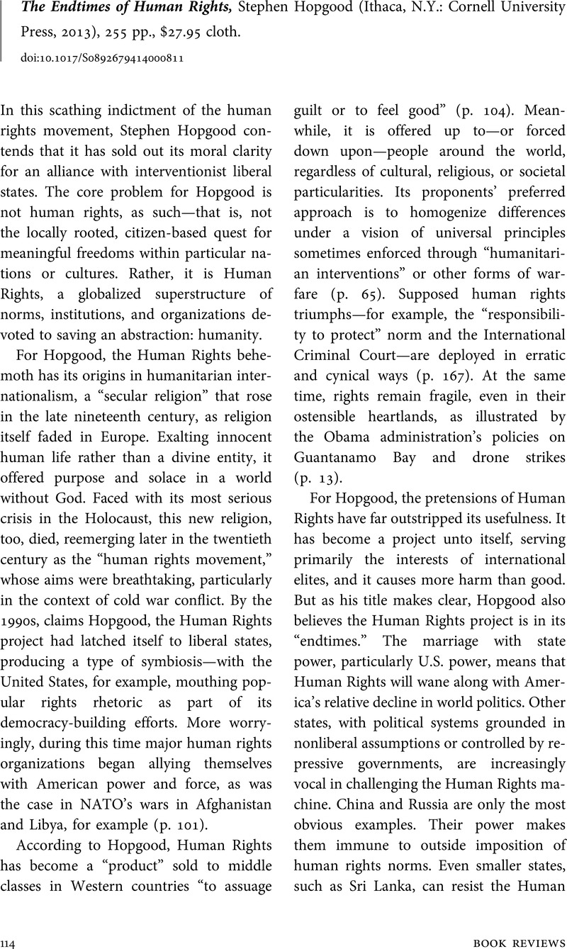 The Endtimes of Human Rights, Stephen Hopgood (Ithaca, N.Y.: Cornell  University Press, 2013), 255 pp., $27.95 cloth.