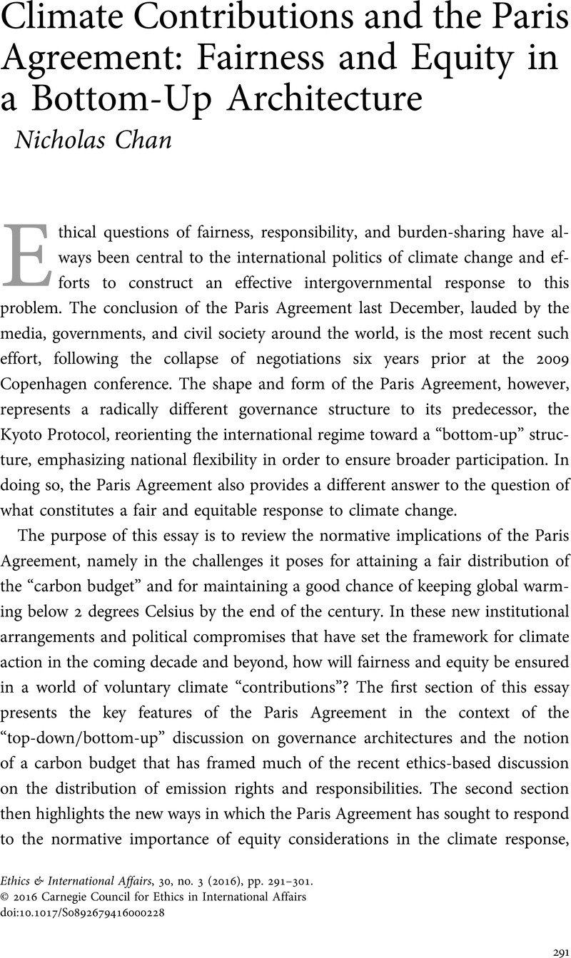 Climate Contributions And The Paris Agreement Fairness And Equity