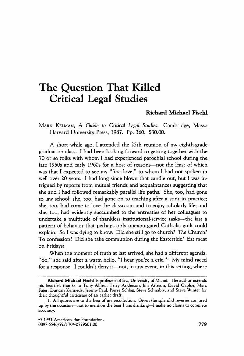 The Question That Killed Critical Legal Stu S