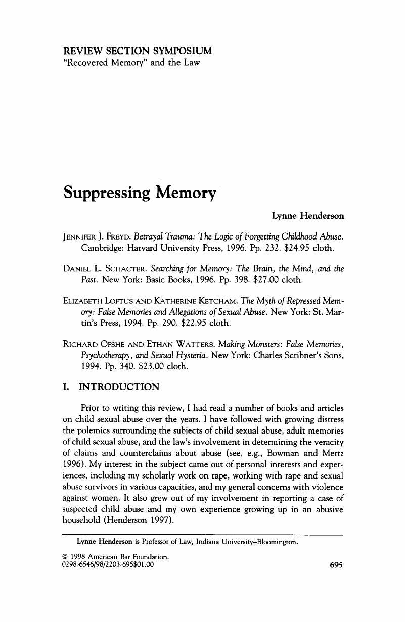 Suppressing Memory   Law & Social Inquiry   Cambridge Core