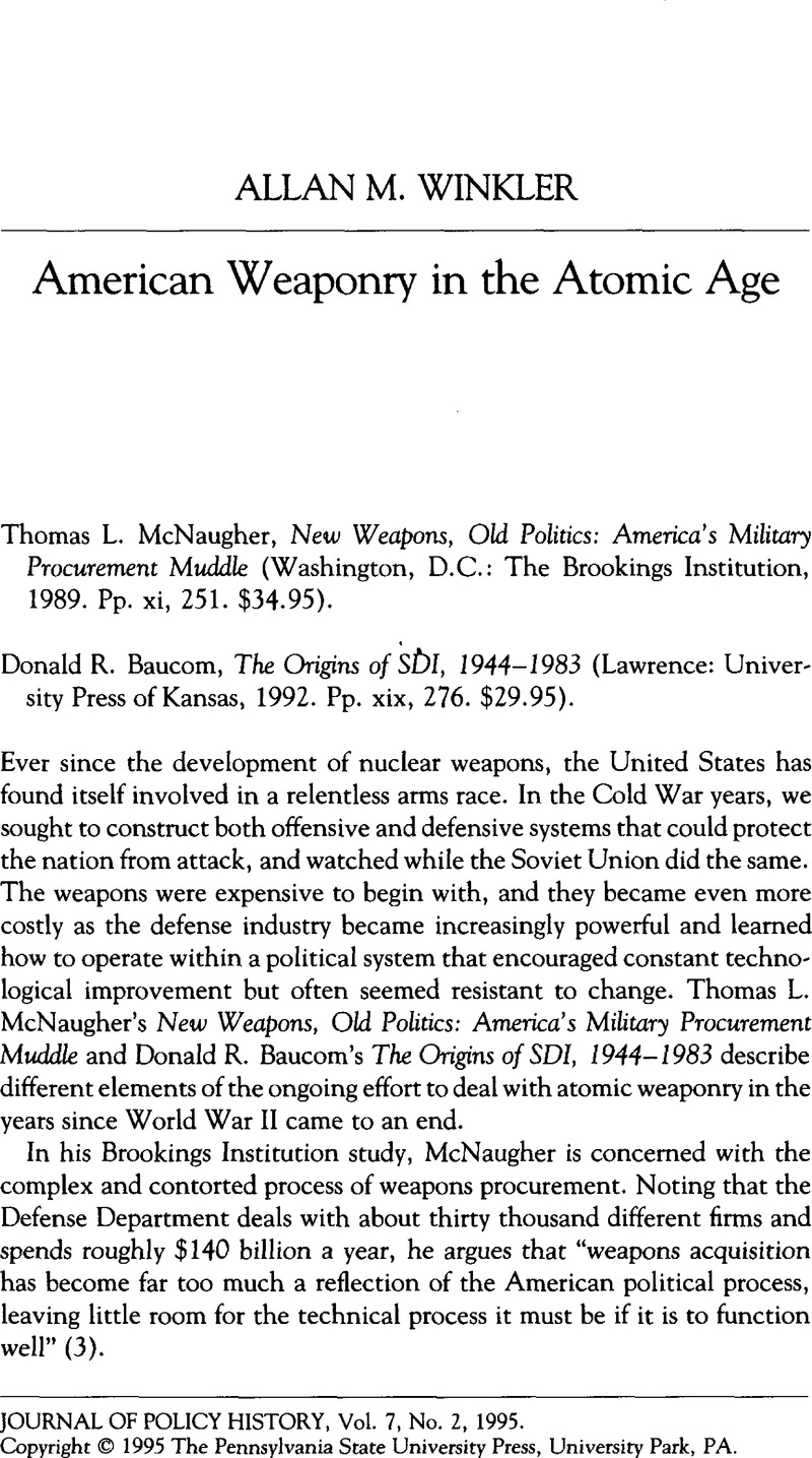 American Weaponry in the Atomic Age - Thomas L  McNaugher