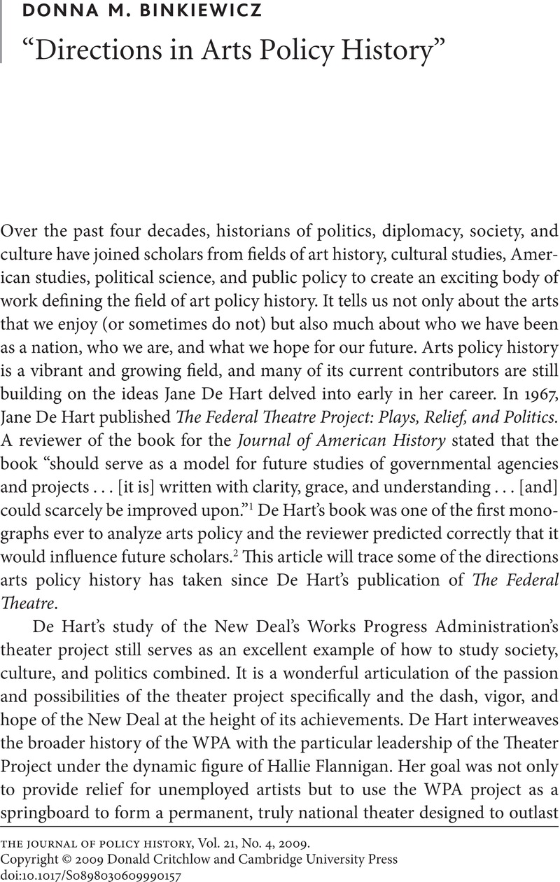 """Directions in Arts Policy History"""" 