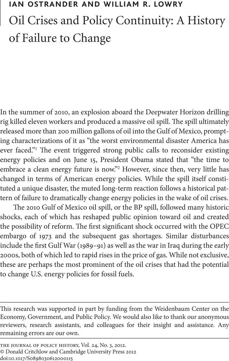 Oil Crises and Policy Continuity: A History of Failure to