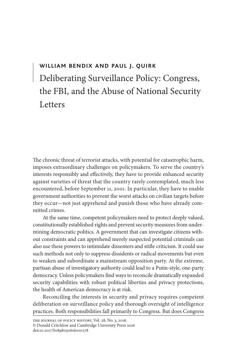 Deliberating Surveillance Policy Congress the FBI and the Abuse