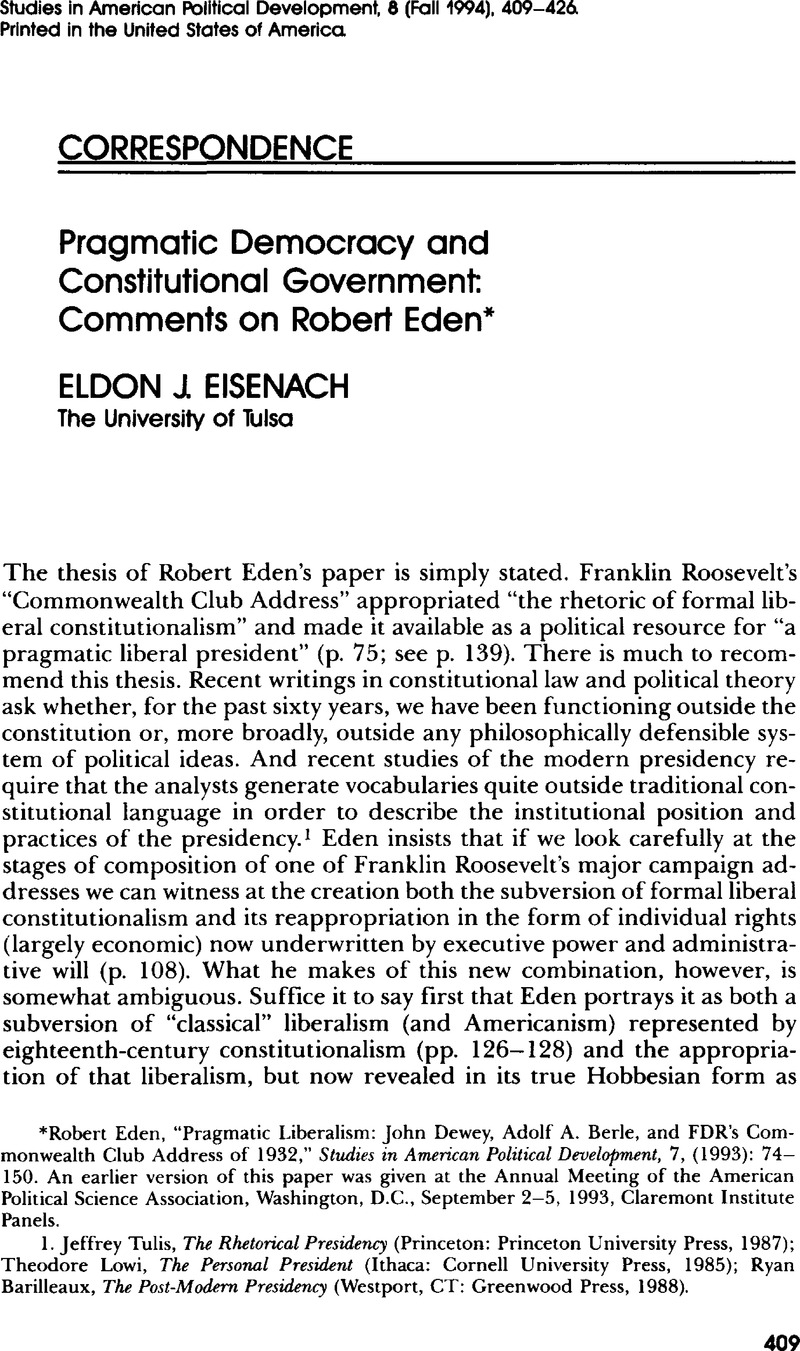 Pragmatic Democracy and Constitutional Government: Comments on Robert Eden*