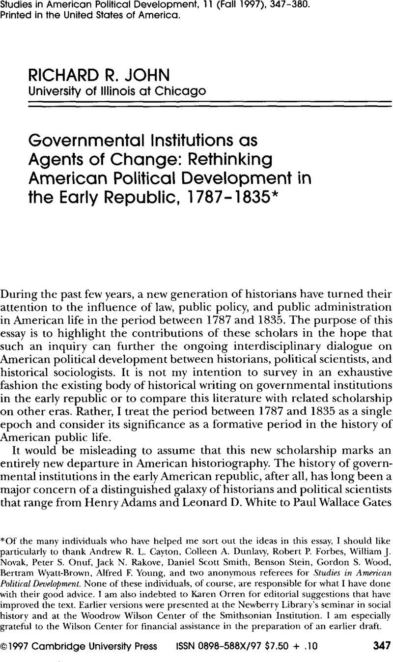 governmental institutions as agents of change rethinking americangovernmental institutions as agents of change rethinking american political development in the early republic, 1787\u20131835*