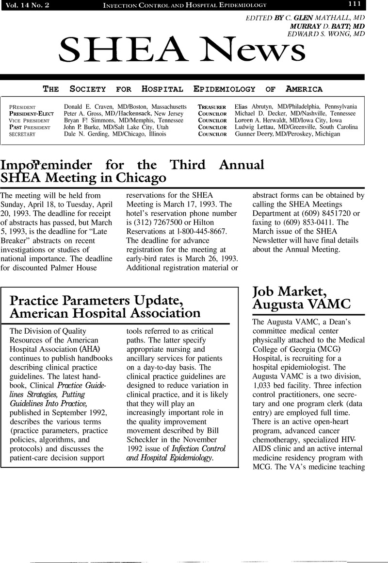 Job Market, Augusta VAMC | Infection Control & Hospital