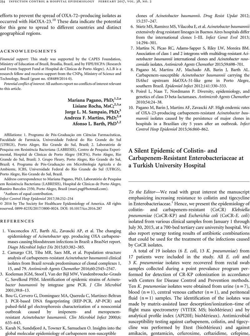 A Silent Epidemic of Colistin- and Carbapenem-Resistant