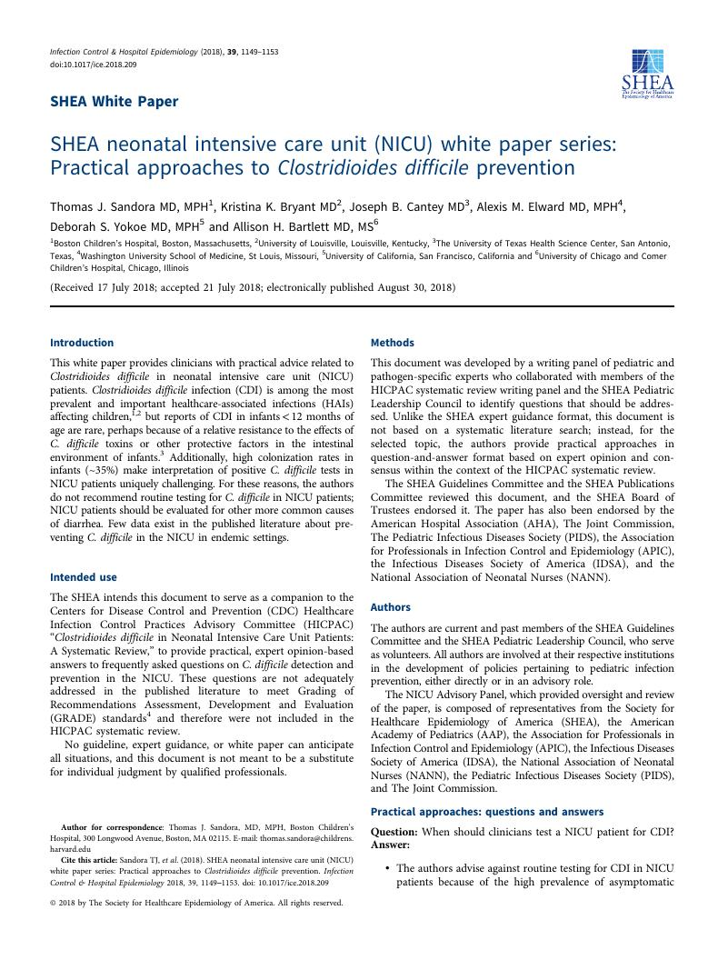 SHEA neonatal intensive care unit (NICU) white paper series