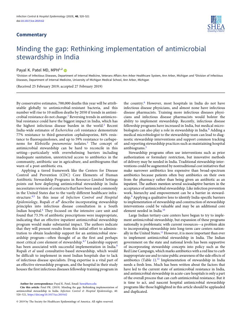 Minding the gap: Rethinking implementation of antimicrobial