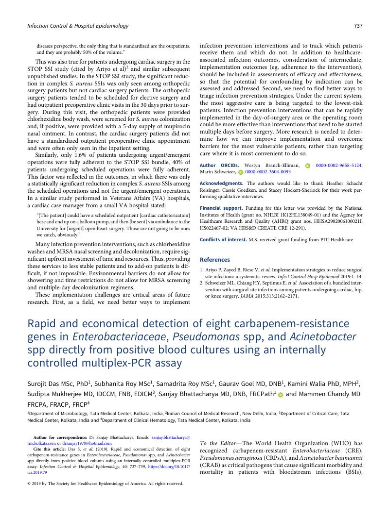 Rapid And Economical Detection Of Eight Carbapenem Resistance Genes In Enterobacteriaceae Pseudomonas Spp And Acinetobacter Spp Directly From Positive Blood Cultures Using An Internally Controlled Multiplex Pcr Assay Infection Control Hospital