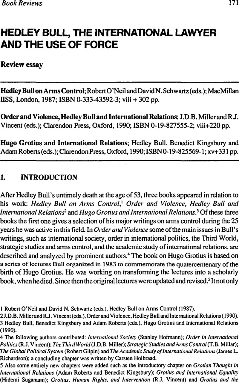 Hedley Bull The International Lawyer And The Use Of Force  Hedley  Copyright