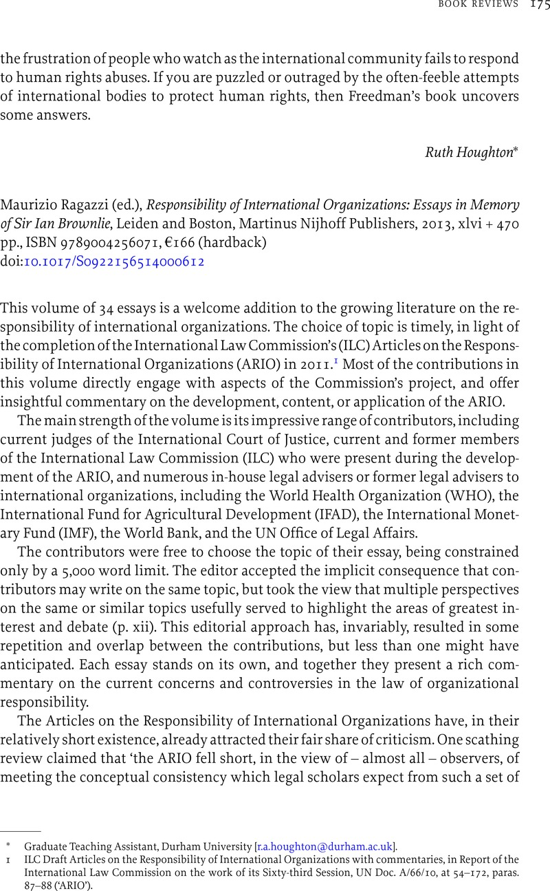 maurizio ragazzi ed responsibility of international  maurizio ragazzi ed responsibility of international organizations essays in memory of sir ian brownlie leiden and boston martinus nijhoff publishers