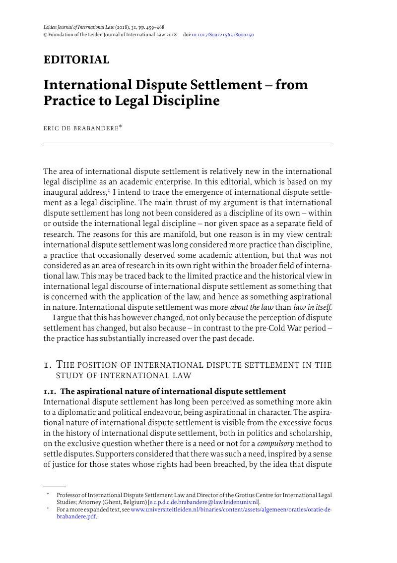 International Dispute Settlement From Practice To Legal Discipline Leiden Journal Of International Law Cambridge Core