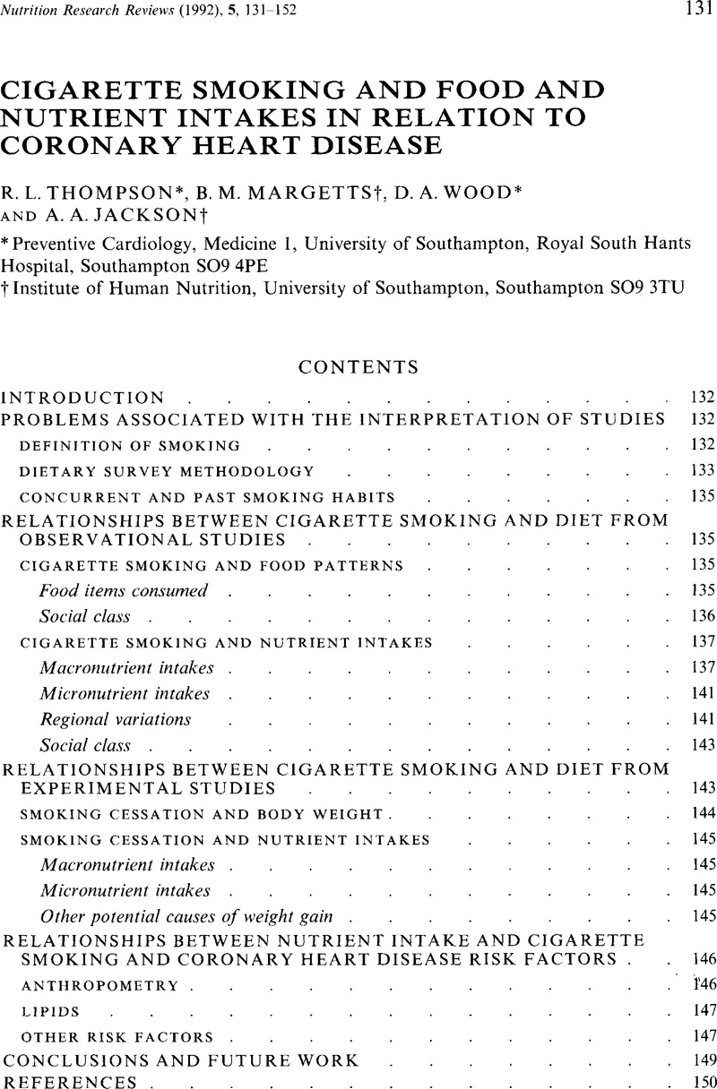 Cigarette Smoking and Food and Nutrient Intakes in Relation to