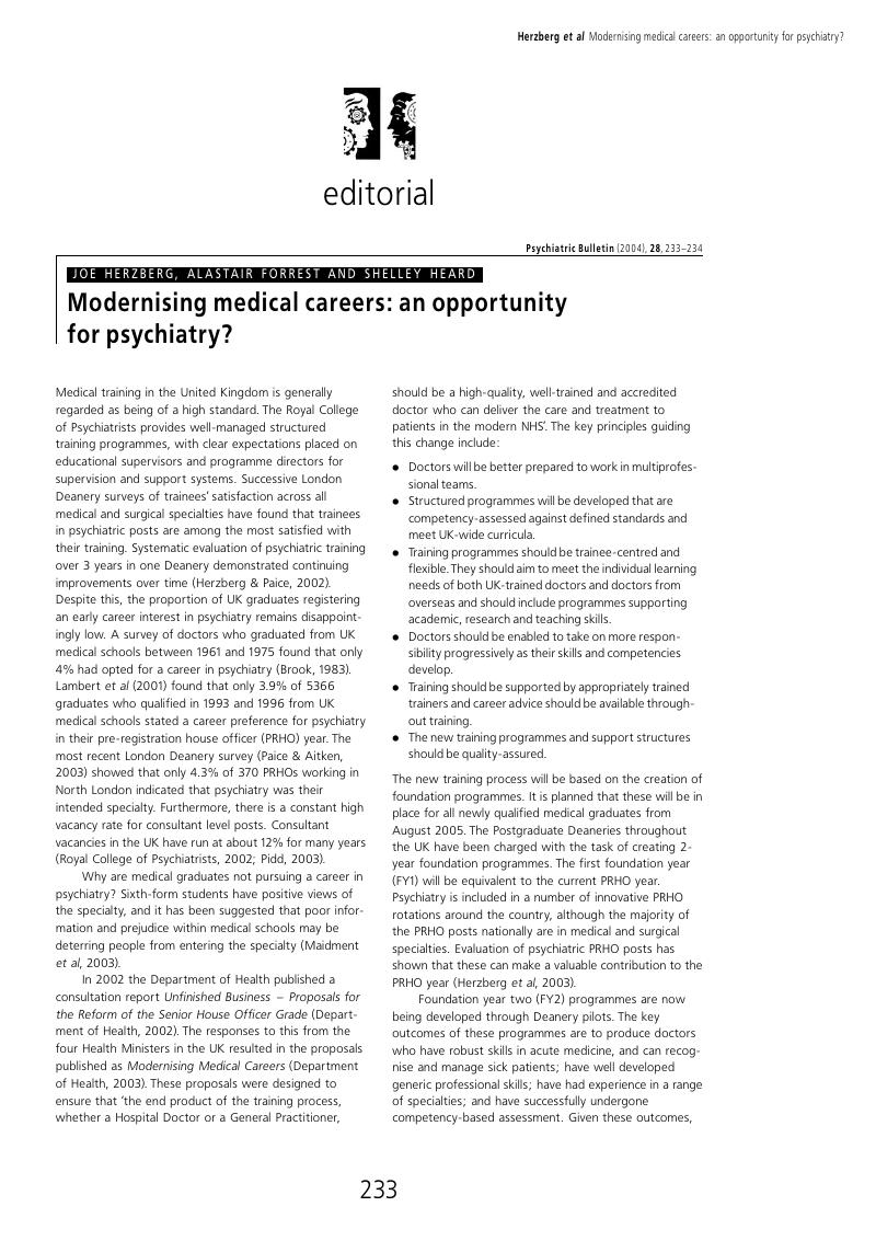 Modernising medical careers: an opportunity for psychiatry