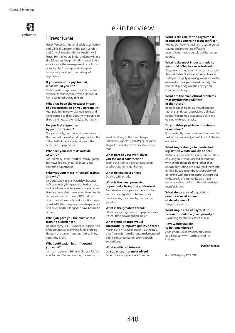 Trevor Turner | Psychiatric Bulletin | Cambridge Core