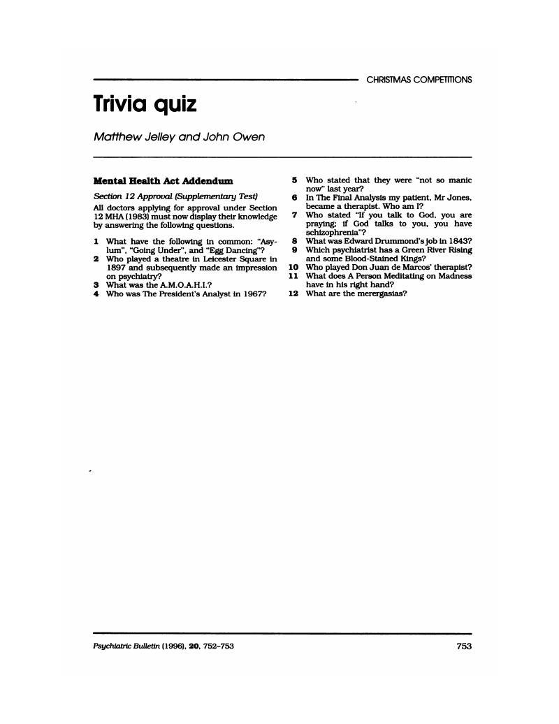 Trivia quiz | Psychiatric Bulletin | Cambridge Core
