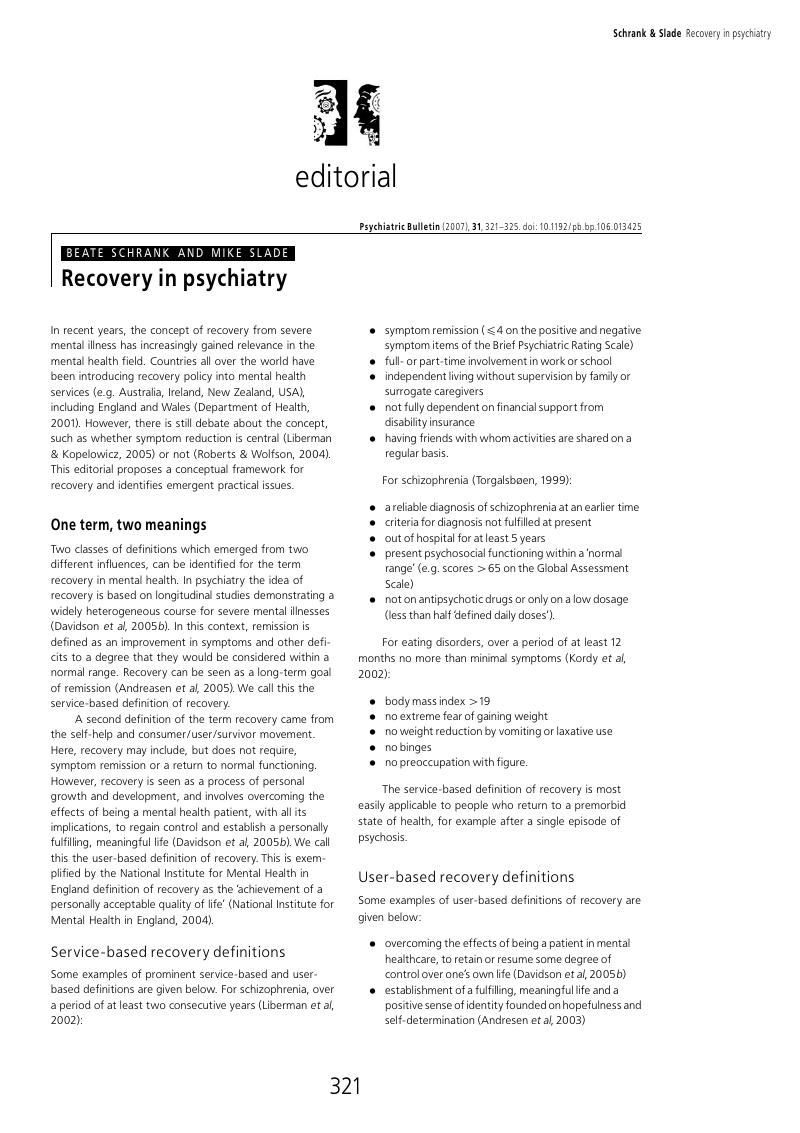 Recovery in psychiatry | Psychiatric Bulletin | Cambridge Core