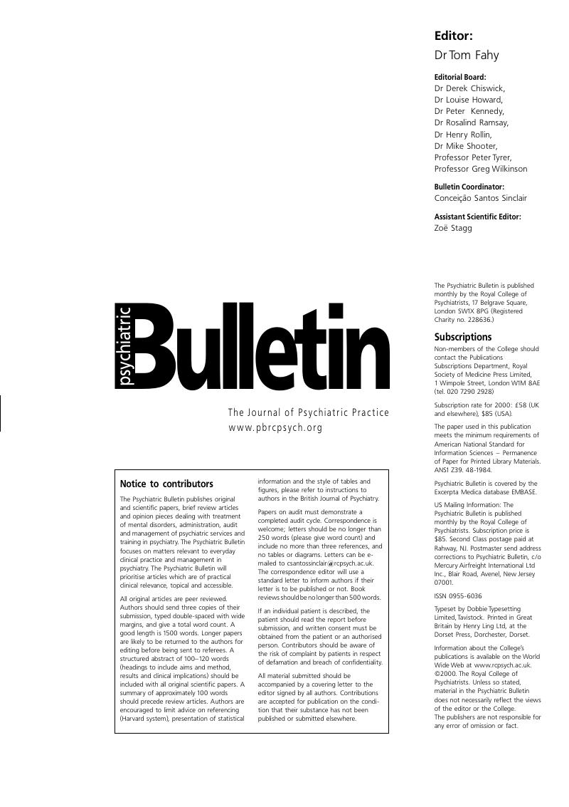 Bju Volume 24 Issue 10 Cover And Front Matter Psychiatric Bulletin