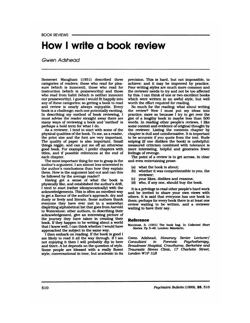 How I write a book review  Psychiatric Bulletin  Cambridge Core