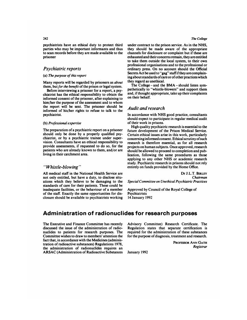 Administration Of Radionuclides For Research Purposes Psychiatric