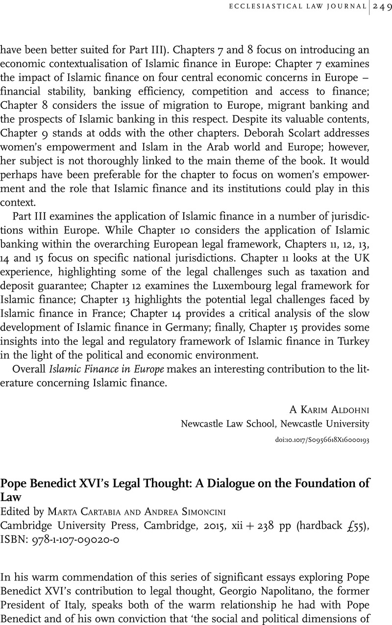 pope benedict xvi s legal thought a dialogue on the foundation of