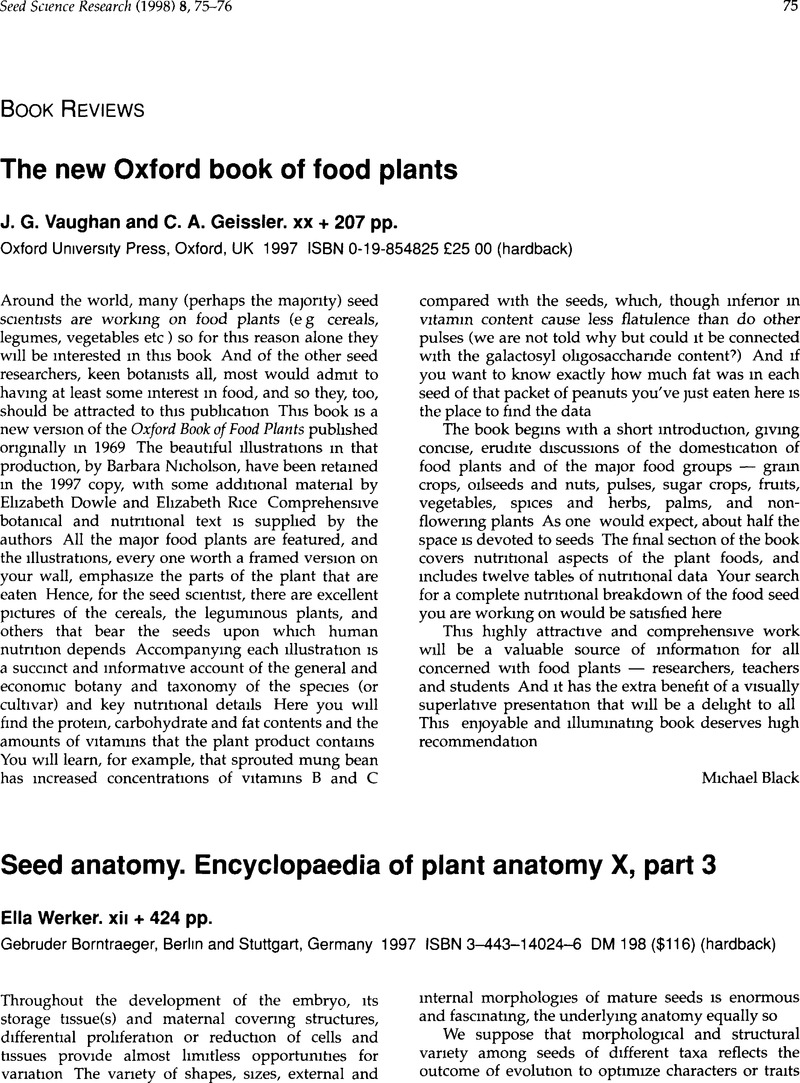 Seed anatomy. Encyclopaedia of plant anatomy X, part 3Ella Werker ...