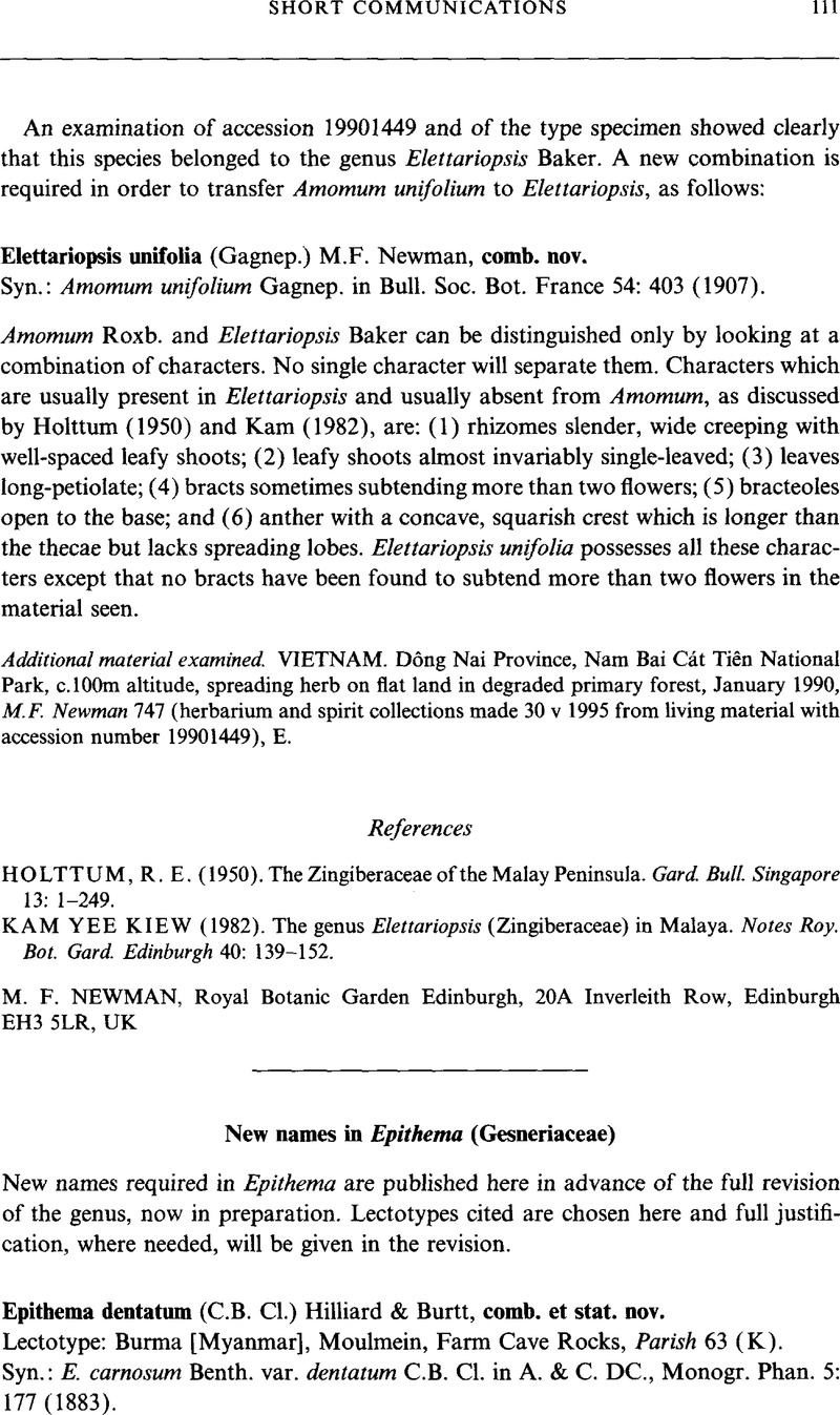 New Names In Epithema Gesneriaceae Edinburgh Journal Of