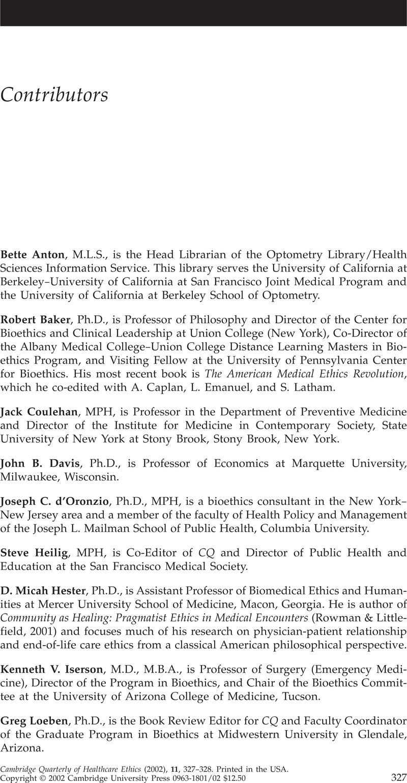 Contributors | Cambridge Quarterly of Healthcare Ethics