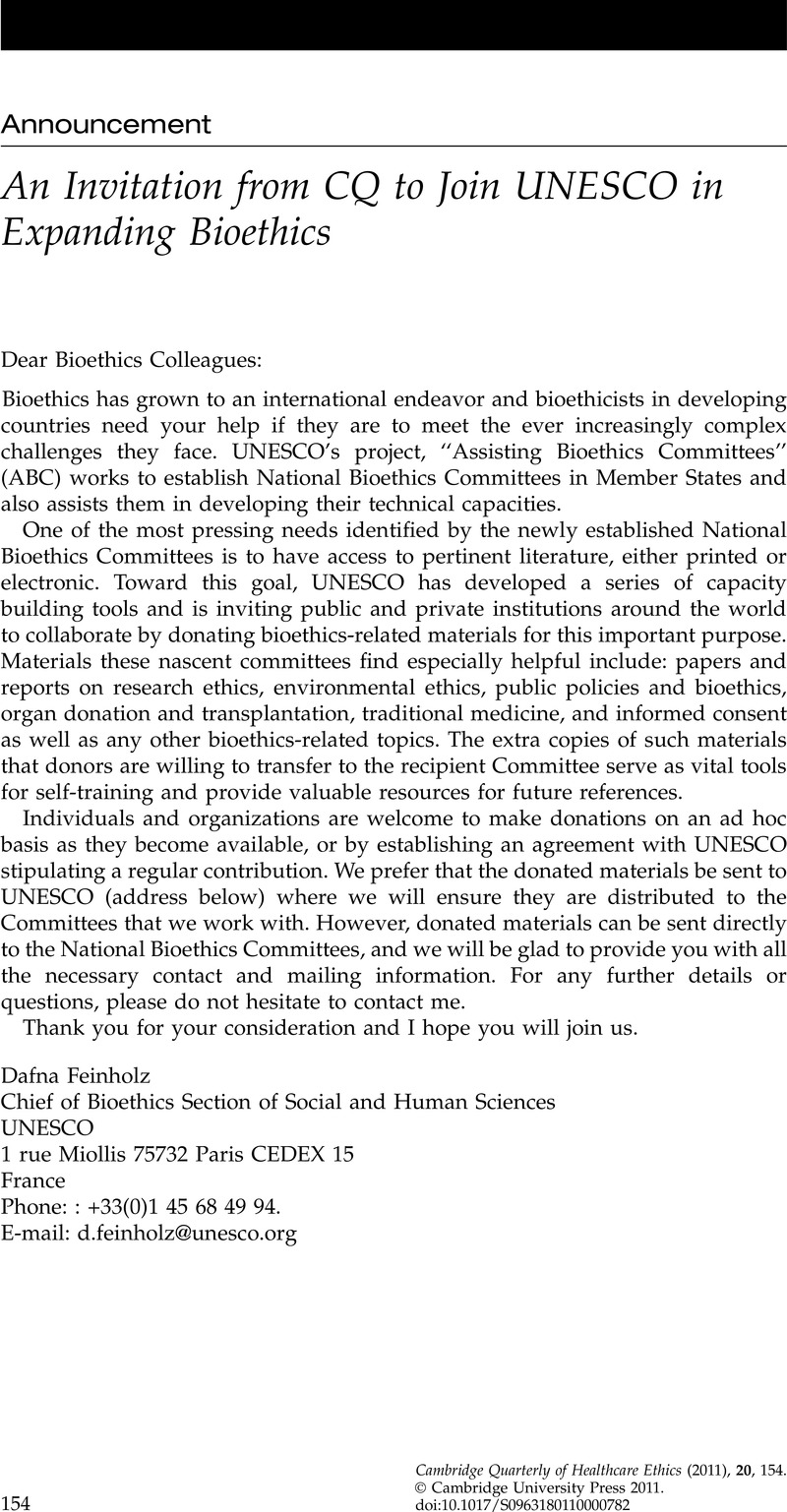 An Invitation from CQ to Join UNESCO in Expanding Bioethics