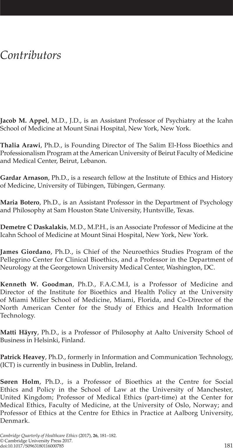 Contributors   Cambridge Quarterly of Healthcare Ethics