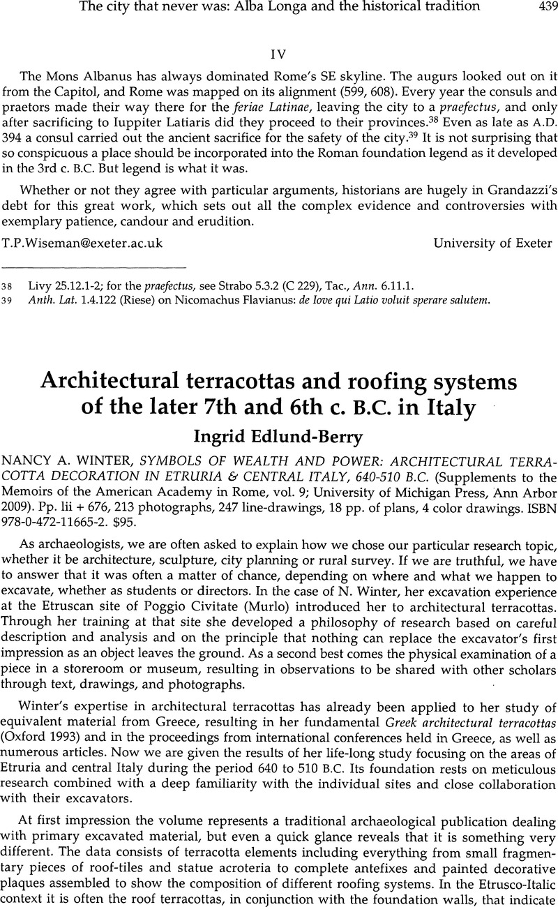 Architectural Terracottas And Roofing Systems Of The Later 7th And