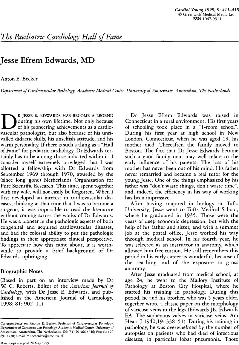 Jesse Efrem Edwards, MD | Cardiology in the Young