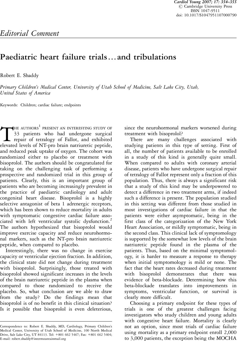 Paediatric heart failure trials…and tribulations