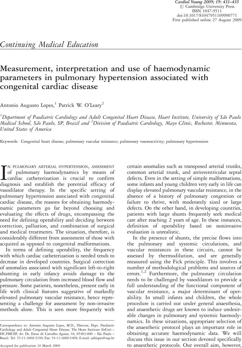 Measurement, interpretation and use of haemodynamic