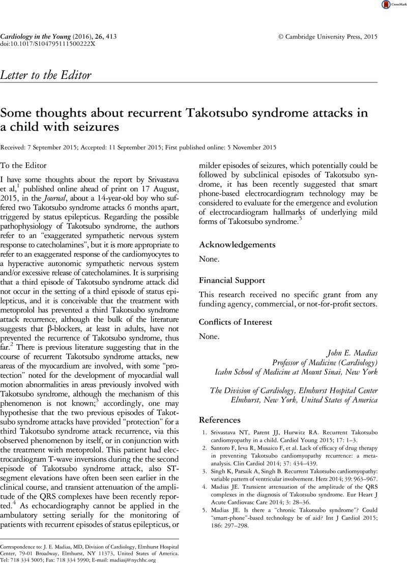 Some thoughts about recurrent Takotsubo syndrome attacks in