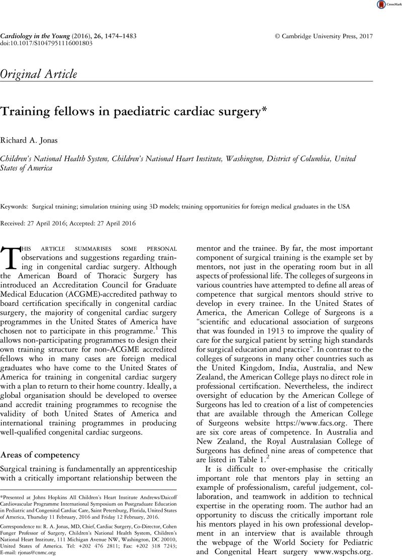 Training Fellows In Paediatric Cardiac Surgery Cardiology In The Young Cambridge Core