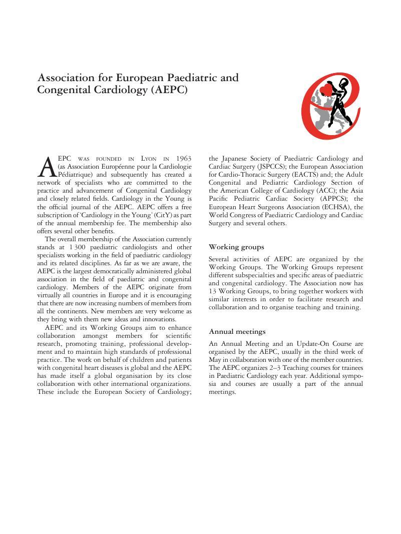 Association for European Paediatric and Congenital