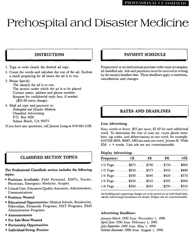 Professional Classifieds Prehospital And Disaster Medicine