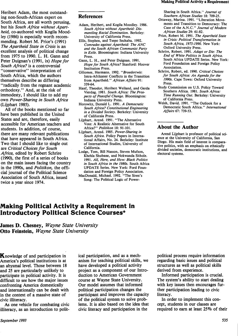 Making Political Activity a Requirement in Introductory