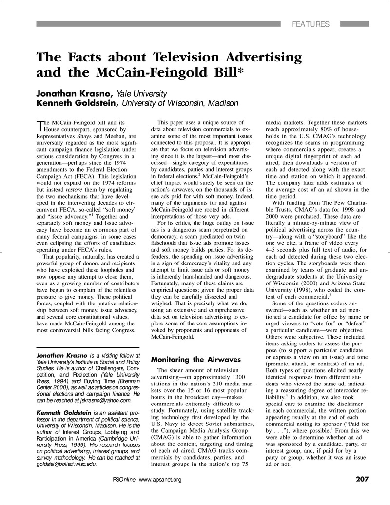 The Facts about Television Advertising and the McCain