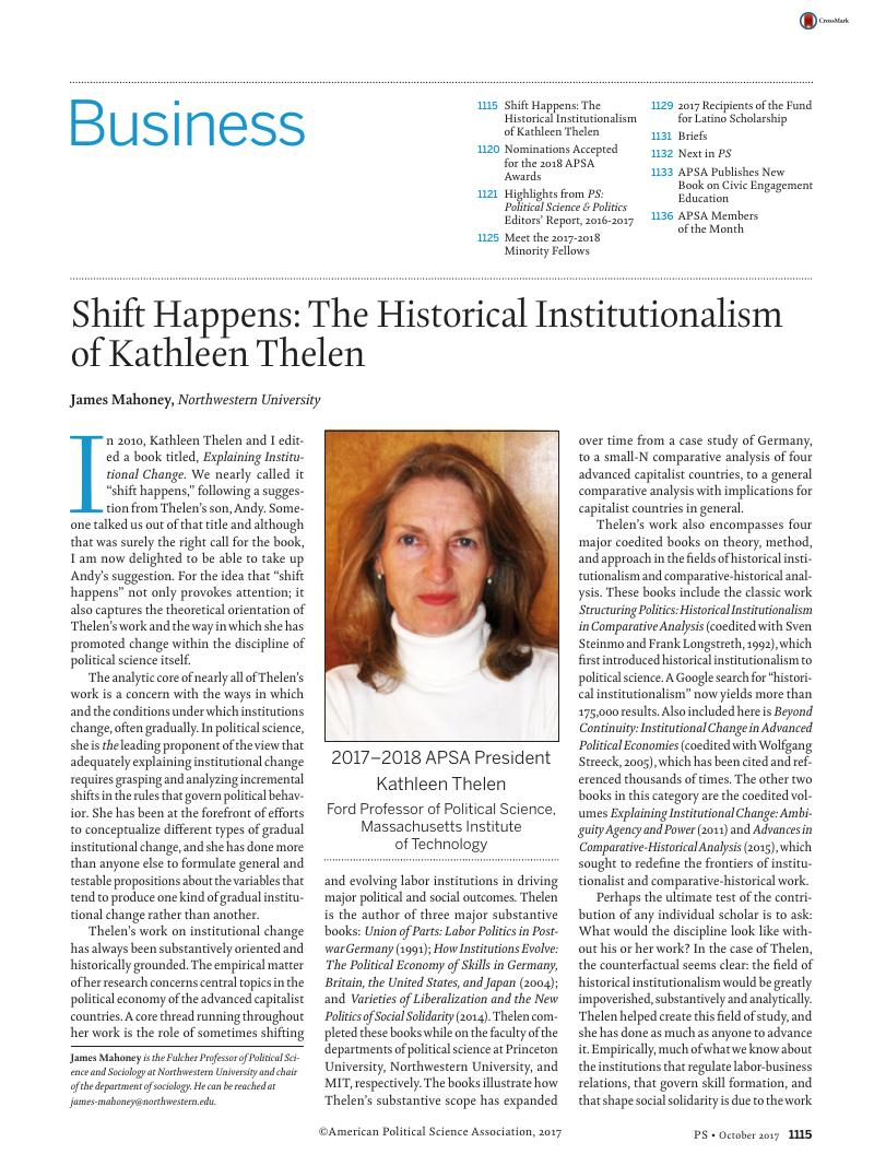 institutionalism political science