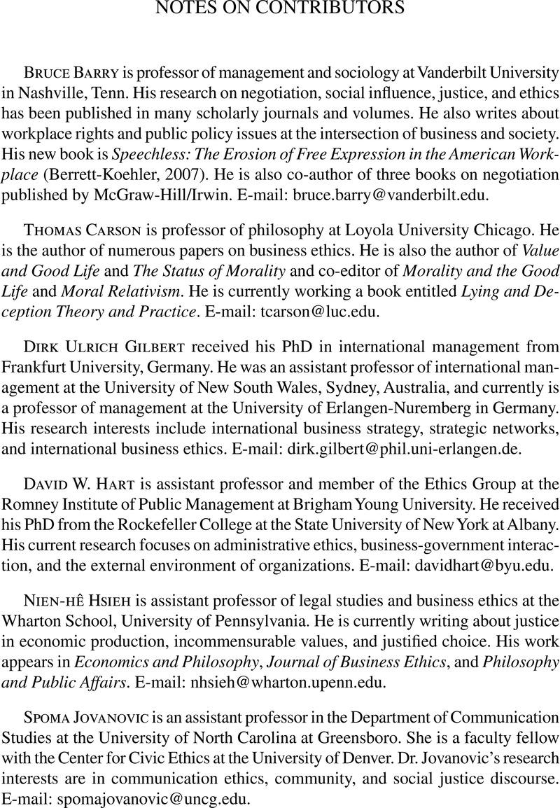 Notes On Contributors Business Ethics Quarterly Cambridge Core