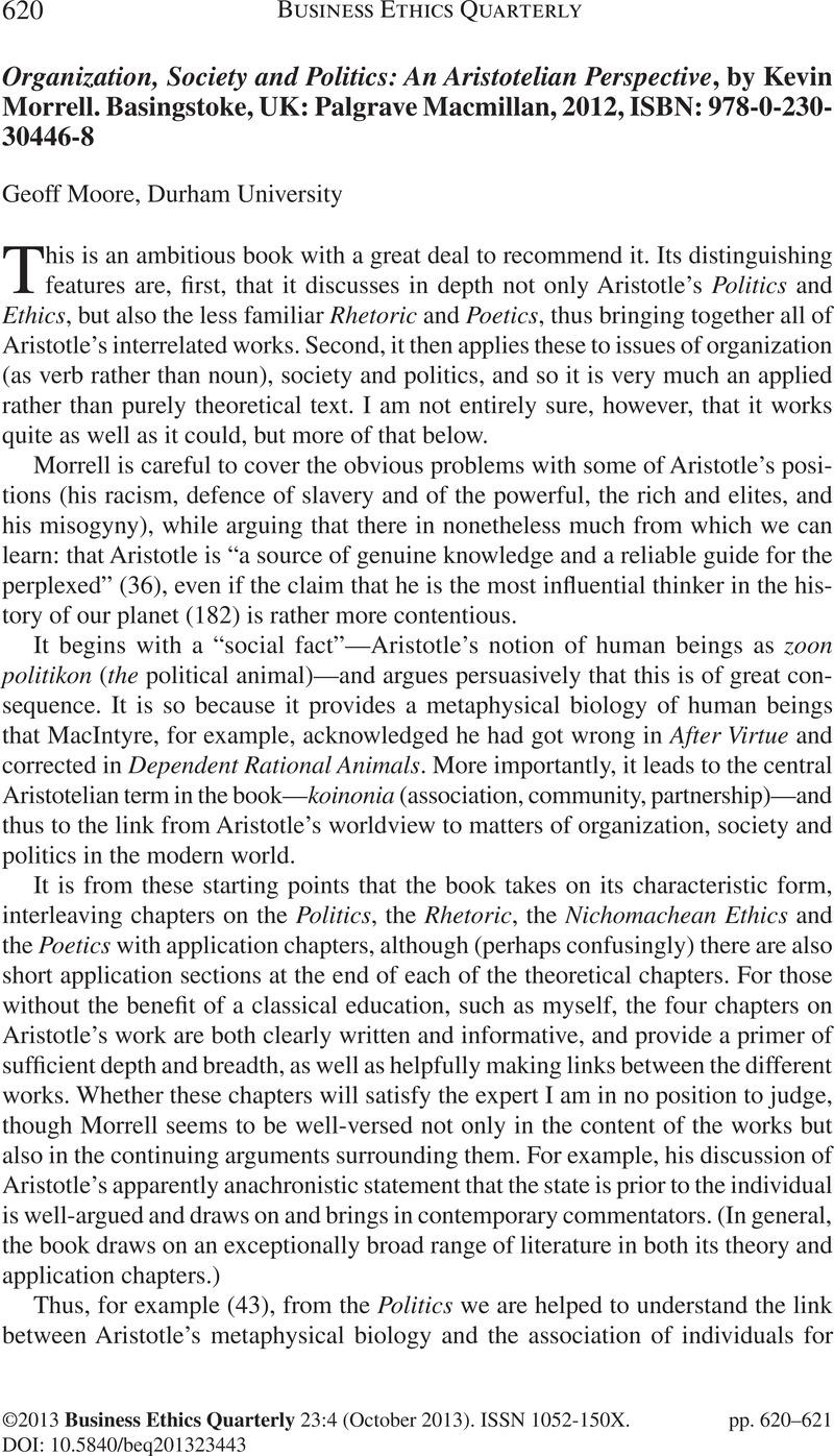 organization society and politics morrell kevin