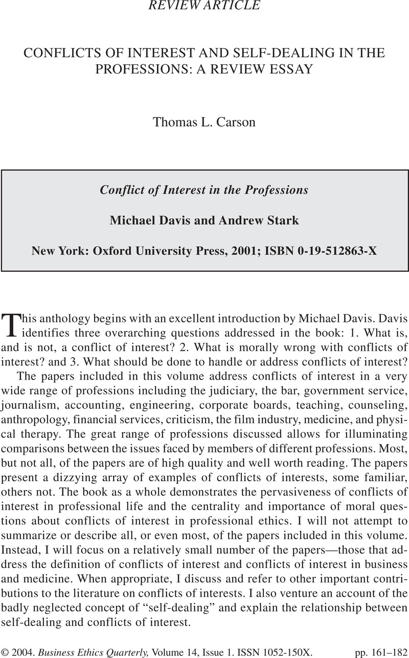 Conflicts Of Interest And Selfdealing In The Professions A Review  Conflicts Of Interest And Selfdealing In The Professions A Review Essay   Conflict Of Interest In The Professionsmichael Davis And Andrew Stark New  York