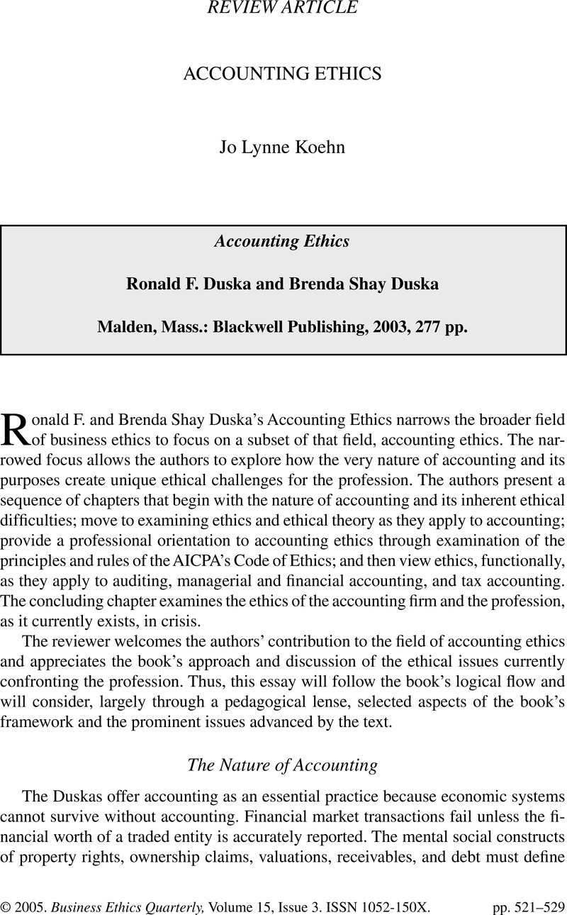 Accounting Ethics - Accounting EthicsRonald F  Duska and