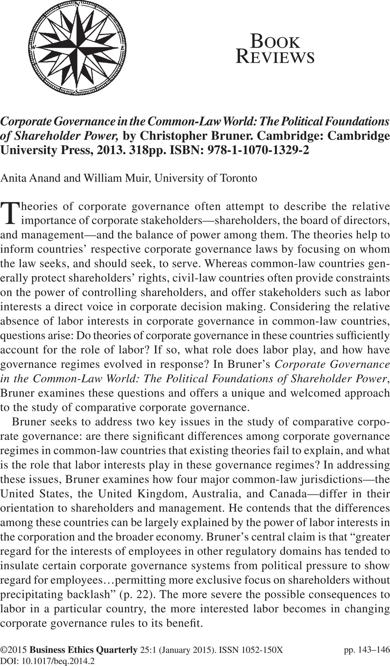 Corporate Governance in the Common-Law World: The Political