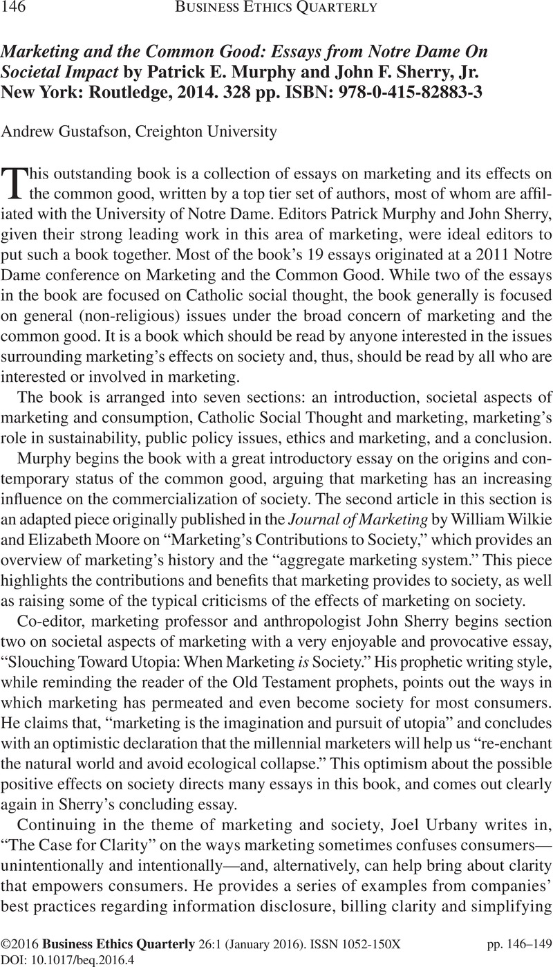 marketing and the common good essays from notre dame on societal  marketing and the common good essays from notre dame on societal impact by  patrick e murphy and john f sherry jr new york routledge   pp