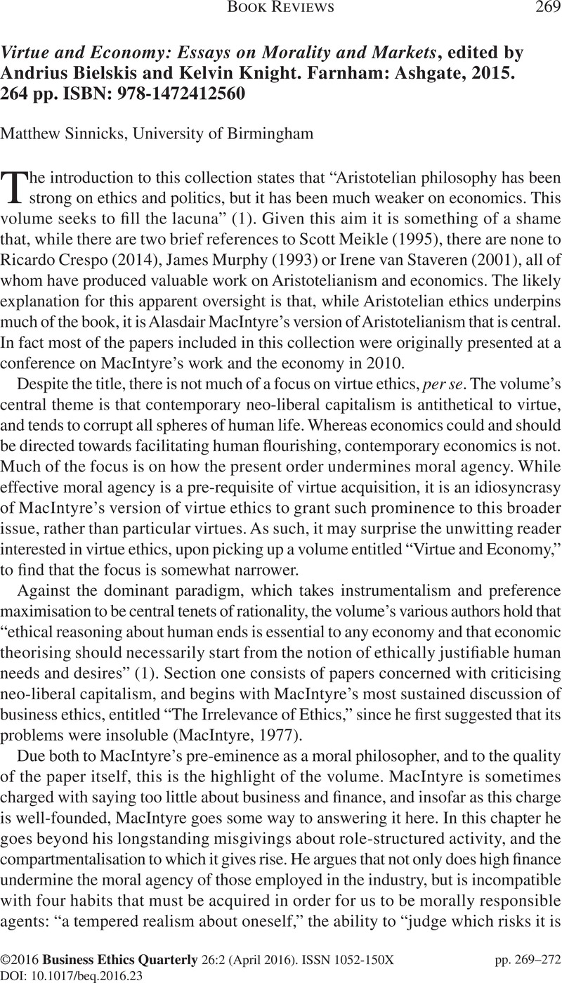 virtue and economy essays on morality and markets edited